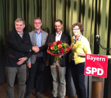 Aufstellungskonferenz BWK Weilheim; v.li. Ewald Schurer, Enrico Corongiu, Dominik Hey, Dr. Sigrid Meierhofer